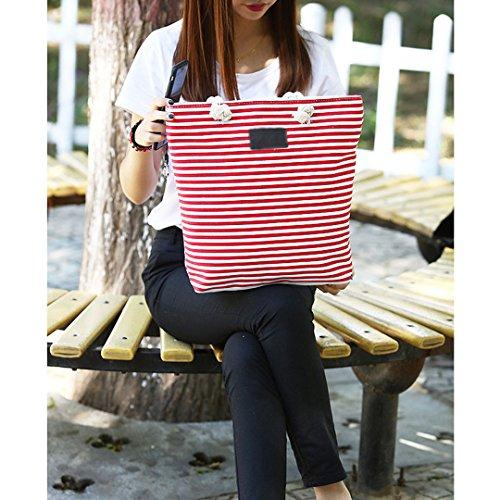 LAHAUTE große canvas Tasche gestreifter shopper für Damen und Mädchen Rot
