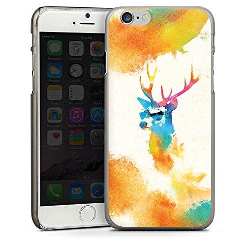 Apple iPhone 5s Housse Étui Protection Coque Hipster Cerf Lunettes de soleil CasDur anthracite clair