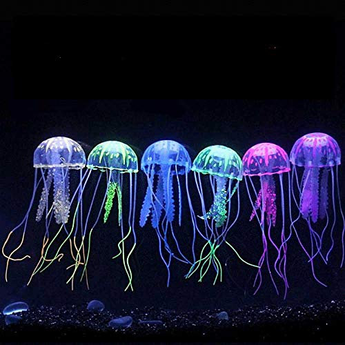 Zelro Künstliche Quallen für Aquarium, Dekoration mit realistischem Leuchteffekt unter aktinischer Beleuchtung, L 16,5 x B 4,3 cm, 6 Stück (Süßwasser-tropische Live Fische)