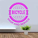 yaoxingfu Fahrradgeschäft Und Service Wandaufkleber Vinyl Wohnkultur Fahrrad Reifenkette Design...