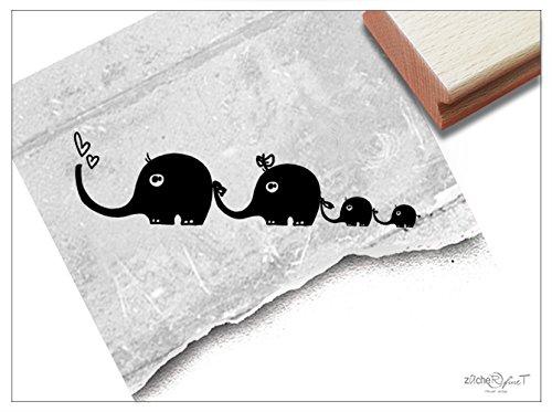 Stempel - Kinderstempel Motiv ELEFANT mit Familie - Bildstempel Geschenk für Kinder - Kita Schule Einschulung Basteln Deko - von zAcheR-fineT