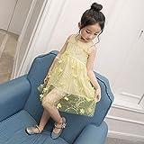 M & M Filles d'été en trois dimensions robe de fleurs robe de princesse gaze jupe robe des enfants,Jaune,9 verges