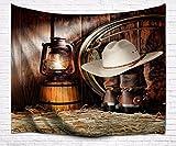 A.Monamour Wanddekor Wohnaccessoires Deko Wandteppiche Vintage Pferd Stall Lichter Cowboy Hüte Stiefel Zubehör Kunstdruck Tuch Wand Hängenden Tapisserie Bettdecken Für Wohnzimmer 153X102cm / 60