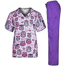 MedPro - Conjunto de uniforme médico para mujer con parte de arriba estampada con cuello en V y pantalones cargo