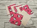 Lot de 8 lingettes A47 réutilisables et lavables collection Hello Kitty/Ivoire/lingettes démaquillantes et écologiques/carré à démaquiller/bébé, naissance