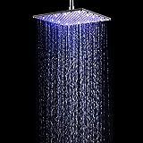 GLHLPR 12 Zoll Luxus LED Einbau-Duschkopf Regendusche Deckenbrause Quadrat Überkopfbrause superflach Farbewelchseln nach Temperatur