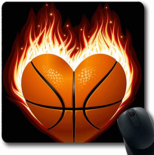 Luancrop Mousepad Längliches Plakat Grüne Flamme Basketball Auf Feuer Form Herz Clip Spielen Sport Erholung Roter Fußball Aufkleber Bürocomputer Laptop Notebook Mauspad, Rutschfester Gummi -