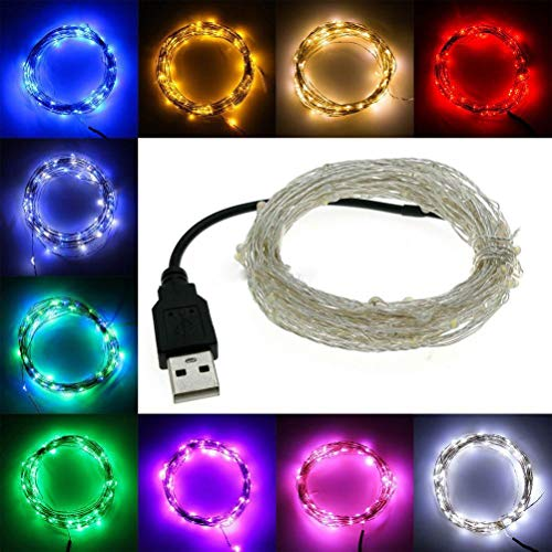 ►WTD-USB Silver Line Licht LED 10m Lampe Schlafsaal Schlafzimmer Net Red Bunte Sterne Lichter (Farbe : Lila)