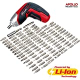 Apollo 3.6V Cordless 1300 mAh Lithium-Ion Screwdriver & 102 Piece Tamperproof Mixed Screwdriver Bit Set in Aluminum Storage Box. All the SAE, Metric,