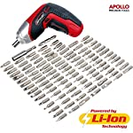Apollo 3.6V Cordless 1300 mAh Lithium-Ion Screwdriver & 102 Piece Tamperproof Mixed Screwdriver Bit Set in Aluminum Storage Box. All the SAE, Metric, Torq, Phillips, Slotted, Pozidriv, Clutch, IT, Metric, Spline, Tri-wing, Square, Spanner, Hex and Triangle bits you'll ever need!