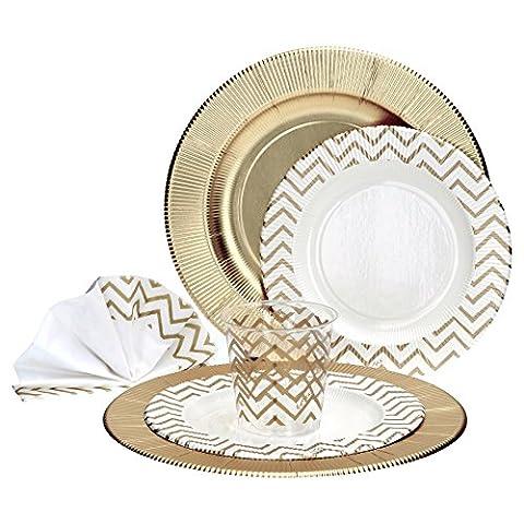 44-tlg. Einweggeschirr Party-Set mit goldenem Zickzack-Muster für 8 Personen aus Papptellern, Servietten und Bechern für festliche Anlässe,