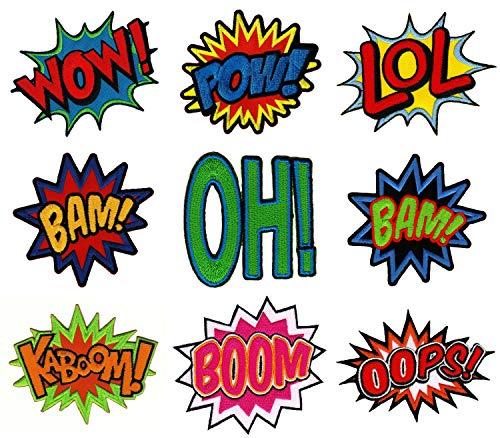 Stück Comic Sprechblasen Wow Bam Boom Pow Oh Kaboom LoL Oops Bügelbilder Applikation ()