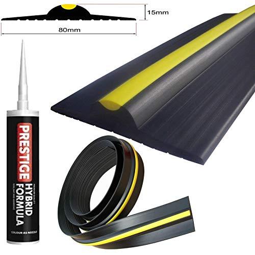 Weather Stop 15 mm (Höhe) Bodenabdichtung für Garagentore   6,17 m   PVC schwarz/gelb   Kleber im Kit enthalten