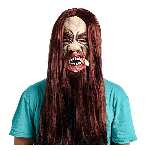 WHLMJ Halloween Ball Lange Haare Gesicht Schnurrbart Raucher Performance Maske.