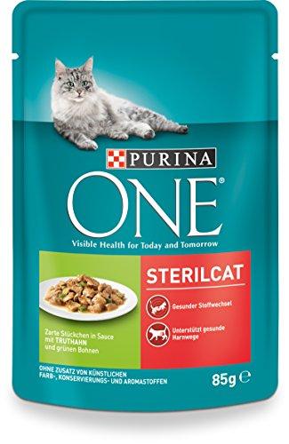 One Sterilcat Katzenfutter mit Truthahn und grünen Bohnen, 24er Pack (24 x 85 g)