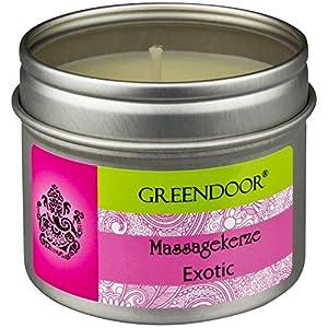 Greendoor Natur Massagekerze Exotic 100ml, BIO Sojawachs + Babassu natürliche ätherische Öle, vegan rußt nicht, natürlich ohne Tierversuche, Weihnachten Geschenke Massage-öl Naturkosmetik natural