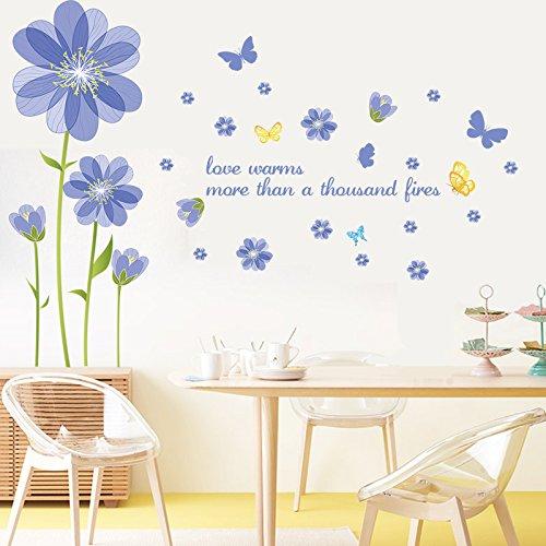 YBFQ Le Camere Da Letto Sono Accoglienti Bed Fiori Romantico Soggiorno Divano Tv Lo Sfondo È Blu Il Simbolo Del Fiocco Di Neve Adesivi Murali 60*90cm