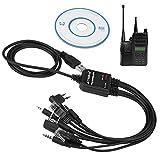 Zerone 8 En 1 Cable Programación USB Multifuncional Compatible para Walkie Talkie Kenwood/QuanSheng/HYT/Motorola/YAESU/ICOM Radio