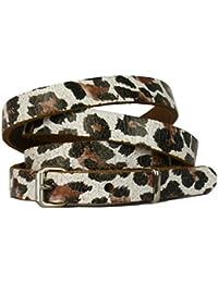Bullet69 Slim Leopard Print Leather Belt