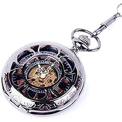 Skeleton Black Pocket Watch Chain Mechanical Hand Wind Half Hunter Vintage Look Value Quality - PW19