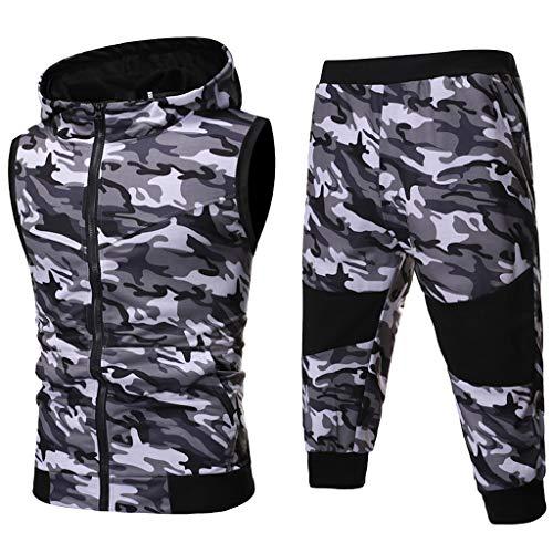 CICIYONER Hot!!! Trainingsanzug Herren Jogginganzug Sportanzug Sommer Camouflage Sweatshirt Zipper Tops Hose Sets Tanktop Hoodie +Shorts (M, Grau)