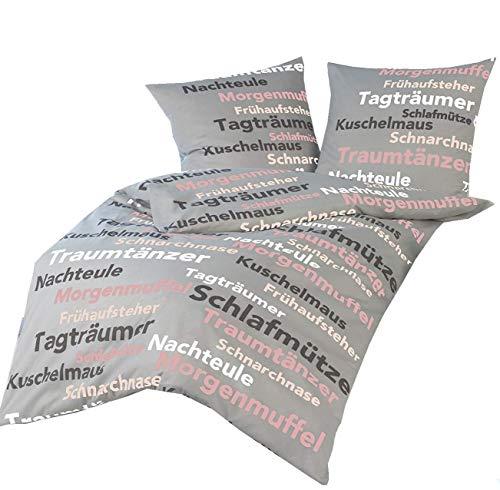 Schöne Bettwäsche aus Baumwolle + Polyester SCHRIFT grau - s - r 135x200cm