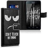 kwmobile Funda para Huawei Ascend G620s - Wallet Case plegable de cuero sintético - Cover con tapa tarjetero y soporte Diseño Don't touch my Phone en blanco negro