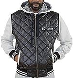 Notorius Jacke College Style Jacket Herren Streetwear Schwarz-Grau oder Rot-Grau mit Kapuze - Modell Milano (XXXL, Schwarz)