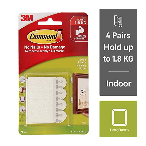 Command Small Picture Hanging Strip (White, 4 Pairs)