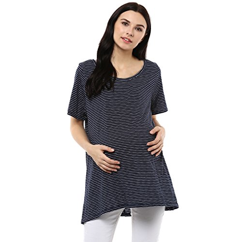 Wobbly Walk Women's Round Neck, Half Sleeves, Striped, Maternity T-Shirt, Blue