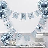 Geburtstagsgirlande Happy Birthday Girlande in blau mit silberner Schrift - Länge 2,5 Meter