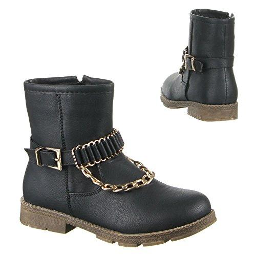 Chaussures bottes 6610–5 enfants Noir - Noir