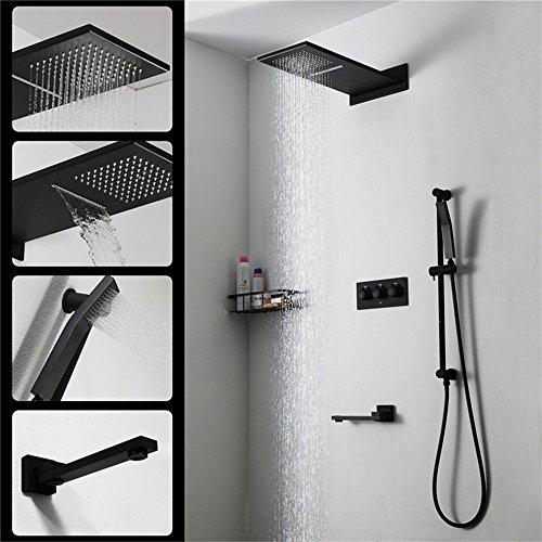 YCRD Top Spray Badezimmer Dusche Versteckte Handheld Wasserhahn Hebe Rod Alle Bronze Heiß und Kalt Fliegen Regen Wasserfall 3-Wege-Ventil Unter Wasser Set - Heiß-wasser-filter-bildschirme
