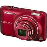 Nikon COOLPIX S6400 Compact Digital Camera - Red (16MP, 12x Optical Zoom) 3 inch LCD