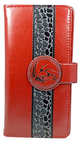 Shagwear portafoglio per giovani donne , Large Purse : Diversi colori e design: cavalli selvaggi rosso/ Wild Horses