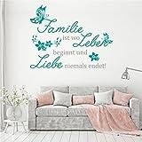 Livingstyle & Wanddesign Wandtattoo Wandsticker Aufkleber Wall Tattoo Familie ist Wo Leben Beginnt und Liebe Niemals endet! 80 cm x 63,6 cm