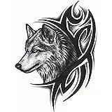 Generic Temporary Girl's Tattoo 3D Wolf Sticker, 19x12cm (Black, SSRT0036M) - Set of 1 Piece