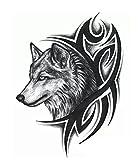 #3: Temporary Tattoo For Girls Men Women 3D Wolf Sticker Size 19x12CM - 1PC.