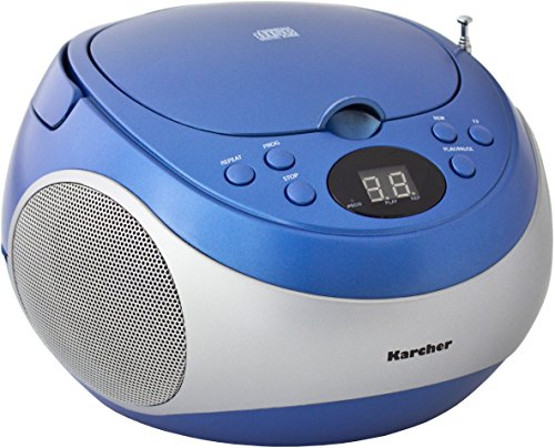 Karcher RR 5020 Cobold tragbares Stereo-CD-Radio (CD-Player, FM-Radio, Batterie/Netzbetrieb, AUX-In) blau/silber