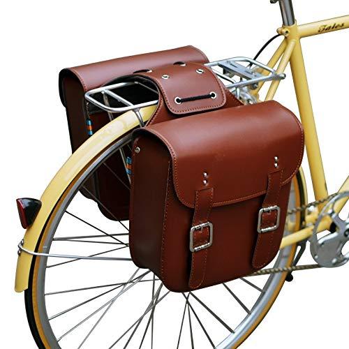 HCHD Bolso Retro De Estante De Bicicleta Bolsos De Bicicleta De Estante Trasero De Cuero Bolsa Robusta De Tija De Sillín Trasero For Sillín De Bicicleta Retro Accesorios