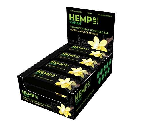Canah Hemp Up Energie Riegel Vanille & schwarzer Sesam (15 x 48g) 100% natürlich, Proteinquelle, glutenfrei, kalt verarbeitet