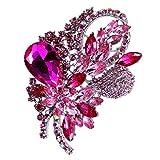 Diamant Blumen Form Brosche Nadel Anstecker Brooch Geschenk Schmuck - Pink