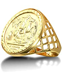 Jewelco London Men's Solid 9ct Yellow Gold St George Dragon Slayer Basket Half-Sovereign-Size Ring