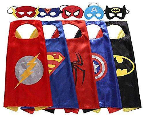 Kinder Cape und Masken Flash Superman Spider-Man Captain America Batman Kostüme Super Hero Kleid bis Flash Superman Spiderman Captain America Batman Kostüme Avengers Flash Superman Spider Man Captain America Batman Fancy Kleid (Einfache Und Günstige Halloween-kostüme Für Kinder)