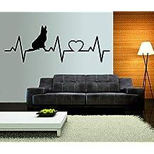 t-shirteria Adesivo murale Wall Sticker elettrocardiogramma Pastore Belga - Dog - Love - Ideale per abbellire la Tua casa - Dimensioni 17x50 cm