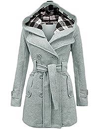 Minetom Donna Autunno Inverno Elegante Risvolto Lungo Trench Cappotto Con  Cappuccio Cintura Manica Lunga Doppiopetto Parka 4b499823502