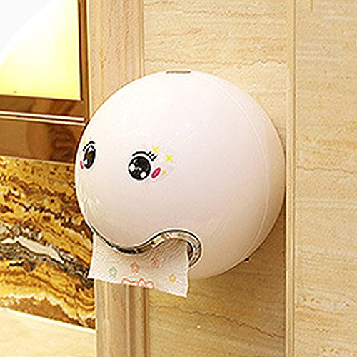 Portarrollos de papel con forma de emoji dispensador de pañuelos impermeable montado en la pared con adhesivo facial para inodoro de baño, tornillo fijo, blanco, Tamaño libre