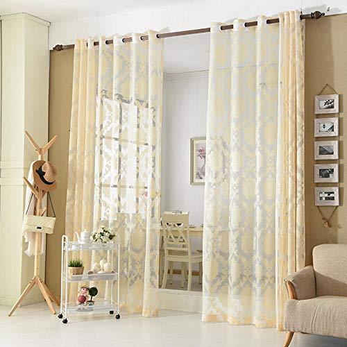 Skygc tende di tulle, ombrellone da balcone camera da letto, luce jacquard europea e piccole tende in poliestere fresco, 2 pezzi,beige,1 * 2.7m