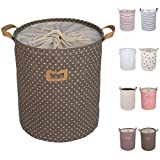 "DOKEHOM DKA0811BN 17.7"" Large Laundry Basket (Available 17.7"" and 19.7""), Drawstring Waterproof Round Cotton Linen Collapsible Storage Basket (Brown, M)"