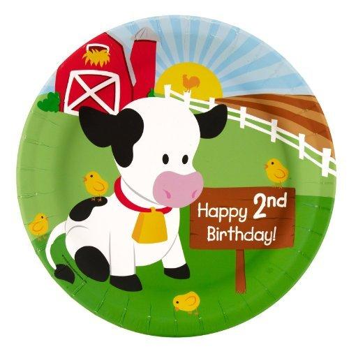 Farm Animal Party Supplies - 2nd Birthday Dinner Plates (8) by BirthdayExpress